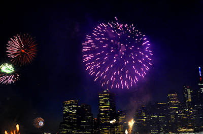 Photograph - Purple Fireworks Over New York City by Diane Lent