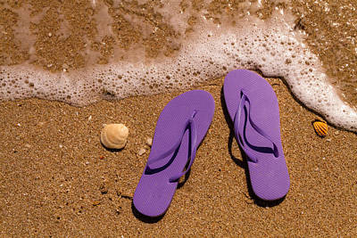 Photograph - Purple Flip Flops On The Beach by Teri Virbickis