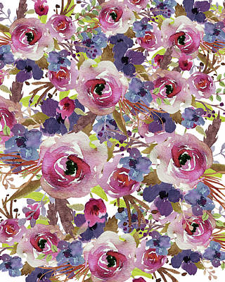 Rose. Collage Painting - Purple Floral Collage by Tara Moss