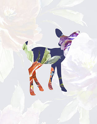Purple Floral Fawn Art Print