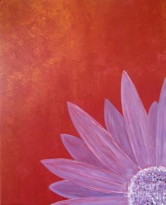 Purple Flower - Red Metallic Background Art Print