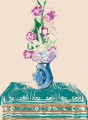 Purple Flowers Drawing - Purple Flowers Altarpiece by