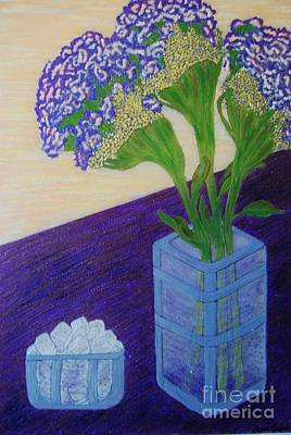 Art Print featuring the painting Purple Flowers And Ice by Jasna Gopic