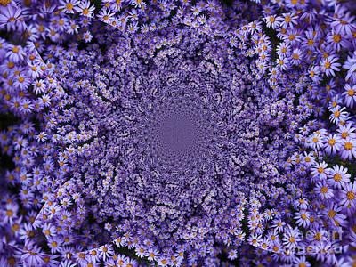 Purple Flowers Kaleidoscope Art Print by Carol Groenen