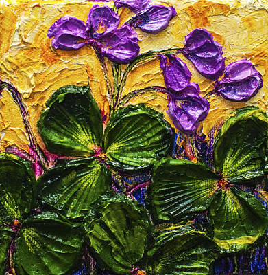 Purple Flowers Shamrocks Art Print