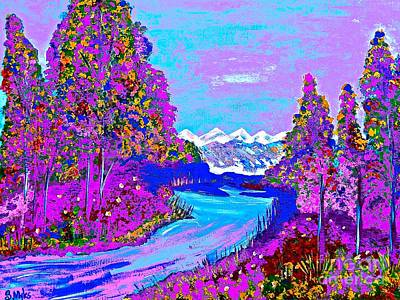 Painting - Purple Forest And Blue River by Saundra Myles