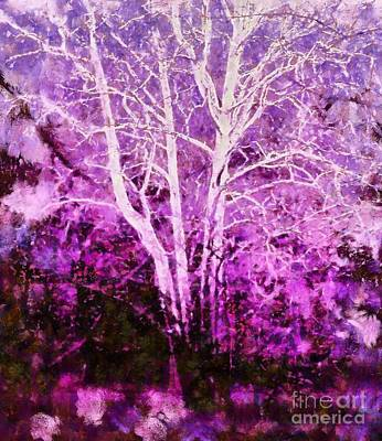 Purple Forest Fantasy Art Print by Janine Riley