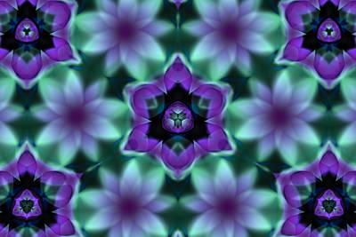 Purple Flowers Digital Art - Purple Fractal Flowers by Hakon Soreide