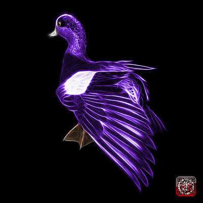 Mixed Media - Purple Fractal Wigeon 7702 - Bb by James Ahn