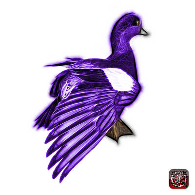 Mixed Media - Purple Fractal Wigeon 7702 - Wb by James Ahn