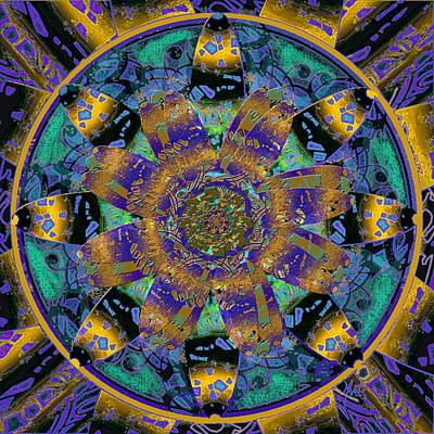 Purple Gold Dream Catcher Mandala Art Print