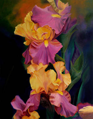Painting - Purple Gold Irises  by George Tuffy