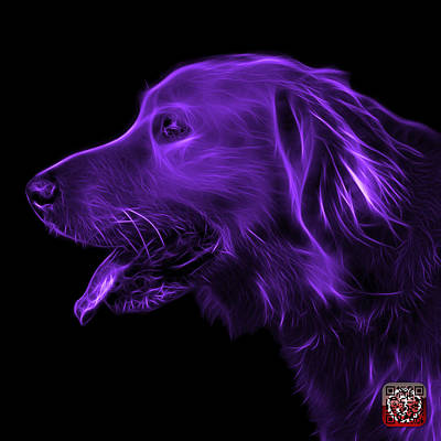 Digital Art - Purple Golden Retriever - 4047 F by James Ahn