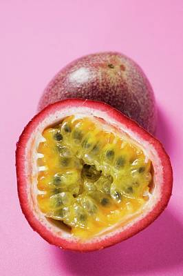 Passion Fruit Photograph - Purple Granadilla (passion Fruit), Halved by Foodcollection