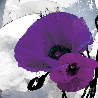 Bold Flower Painting - Purple Grey Poppy A by Grace Pullen