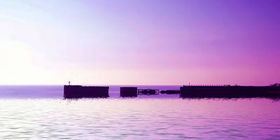 Port Town Digital Art - Purple Harbor by Sharon Lisa Clarke