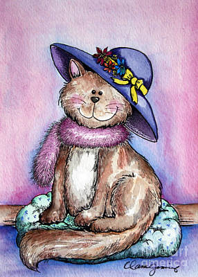Painting - Purple Hat Cat by Dani Abbott