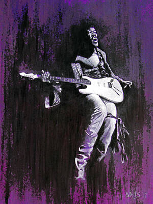 Rock Stars Painting - Purple Haze - Hendrix by William Walts
