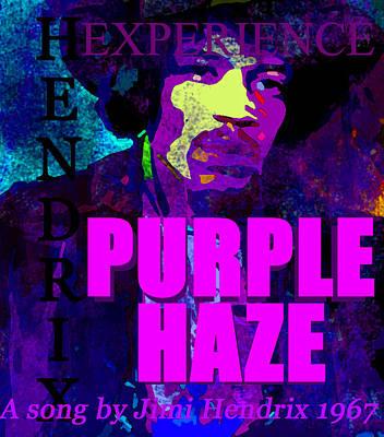 Famous Songs Digital Art - Purple Haze Jh 1967 by David Lee Thompson