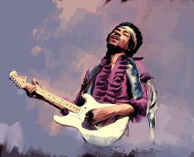 Purple Haze  Jimi Hendrix Original by Iconic Images Art Gallery David Pucciarelli