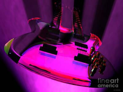 Mixed Media - Purple Haze Twin Neck Guitar by R Muirhead Art
