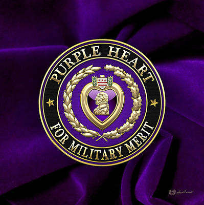 Historical Digital Art - Purple Heart On Velvet by Serge Averbukh