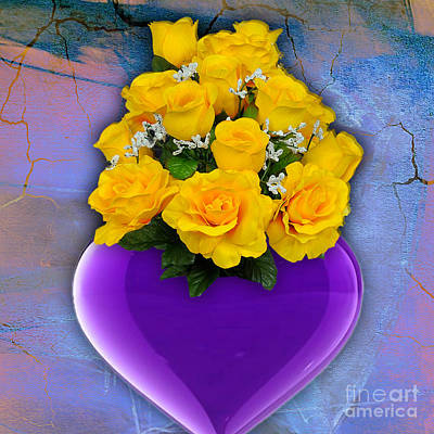 Mixed Media - Purple Heart Vase With Yellow Roses by Marvin Blaine