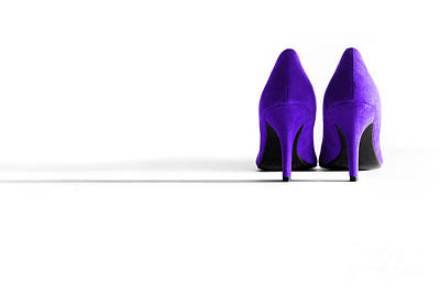 Purple High Heel Shoes Art Print by Natalie Kinnear