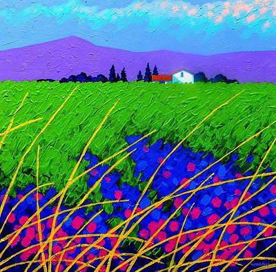 Card Painting - Purple Hills by John  Nolan