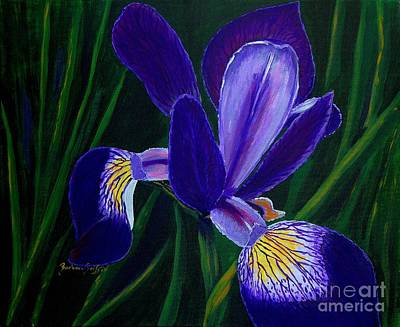 Art Print featuring the painting Purple Iris by Barbara Griffin