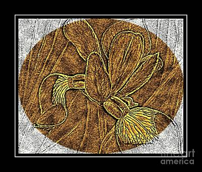 Brass Etching Photograph - Purple Iris - Brass Etching by Barbara Griffin