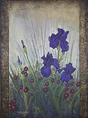 Print featuring the painting Purple Iris by Rob Corsetti