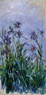 Garden Painting - Purple Irises by Claude Monet