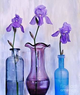Wrap Digital Art - Purple Irises In Vases by Marsha Heiken