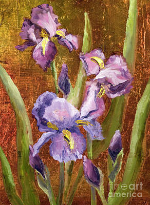 Painting - Purple Iriswith Gold Leaf By Vic Mastis by Vic  Mastis