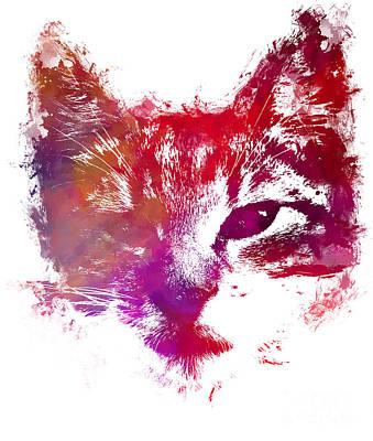 Kitty Digital Art - Purple Kitty by Justyna JBJart