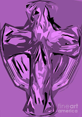 Crucifix Art Mixed Media - Purple Lavender Violet Abstract Textures Cross by Minding My Visions by Adri and Ray