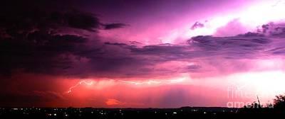 Purple Lightning Panorama Art Print