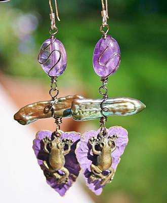 Jewelry - Purple Lily Pad Landing Earings by Kelly Nicodemus-Miller