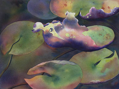 Lilly Pond Painting - Purple Linings II by Johanna Axelrod
