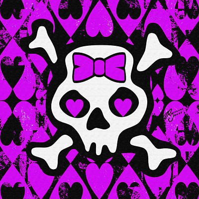 Digital Art - Purple Love Heart Skull by Roseanne Jones