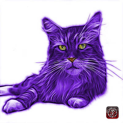 Painting - Purple Maine Coon Cat - 3926 - Wb by James Ahn