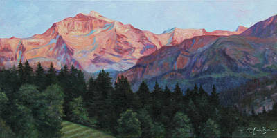 Mountain Sunset Painting - Purple Majesty by Anna Rose Bain
