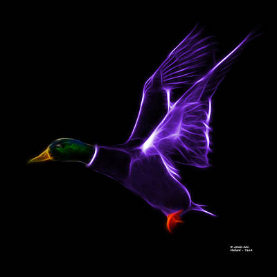 Mixed Media - Purple Mallard Pop Art - 7664 - Bb by James Ahn