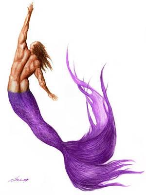 Fantasy Drawings - Purple Merman by Bruce Lennon