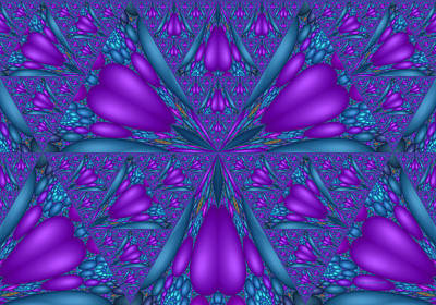 Digital Art - Purple Mixed Fractal Flower by Judi Suni Hall
