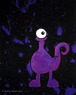 Cyclops Drawing - Purple Monster by Natalie Rogers