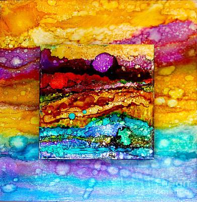 Wall Art - Painting - Purple Moon Double Canvas by Alene Sirott-Cope