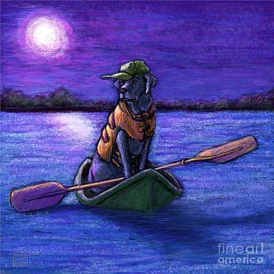 Retrievers Mixed Media - Purple Night by Kathleen Harte Gilsenan