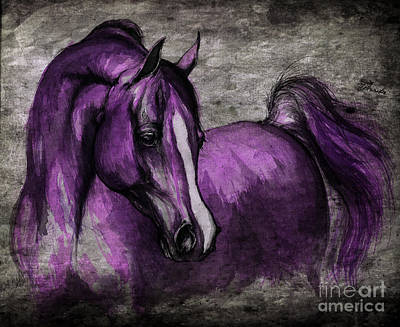 Equine Drawing - Purple One by Angel  Tarantella